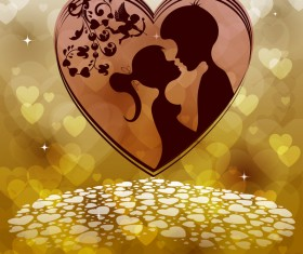 Romantic valentine day card with lovers vector material 05