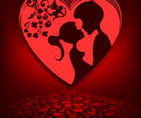 Romantic valentine day card with lovers vector material 06