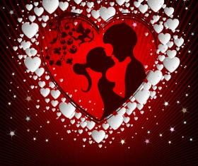Romantic valentine day card with lovers vector material 07