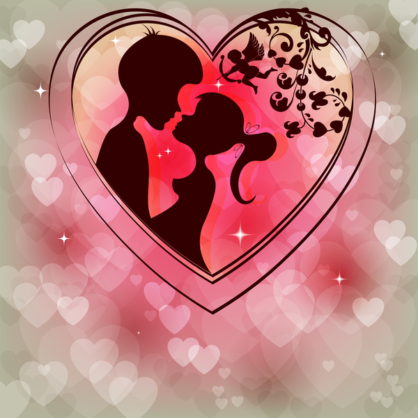 Romantic Valentine Day Card With Lovers Vector Material 08 Free Download