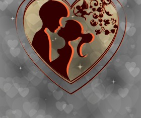 Romantic valentine day card with lovers vector material 09