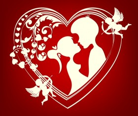 Romantic valentine day card with lovers vector material 10