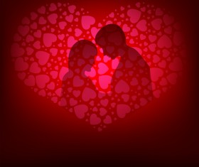 Romantic valentine day card with lovers vector material 12