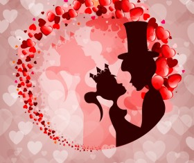 Romantic valentine day card with lovers vector material 15