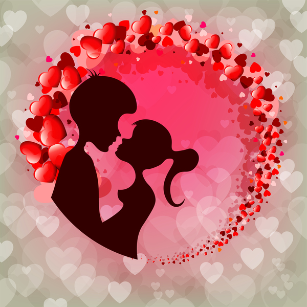 Romantic valentine day card with lovers vector material 16 ...