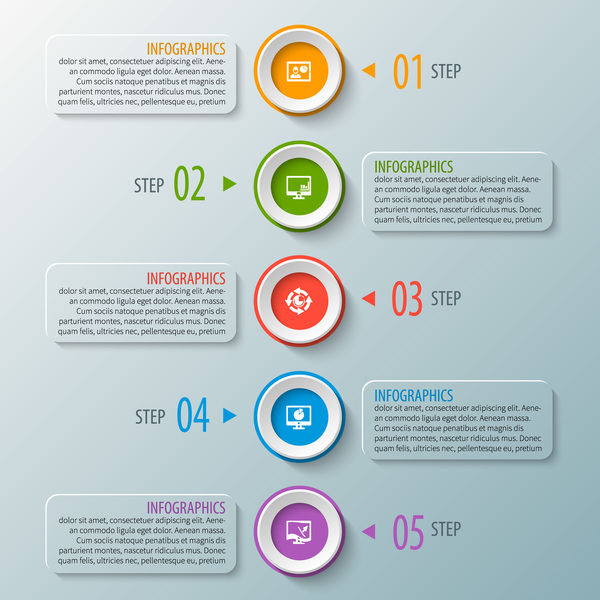 Round with banner option infographic vector