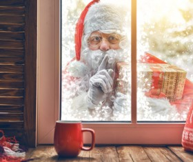 Santa Claus outside the window Stock Photo 01
