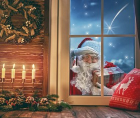 Santa Claus outside the window Stock Photo 02