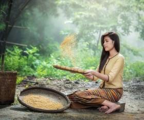 Screen rice woman Stock Photo 01
