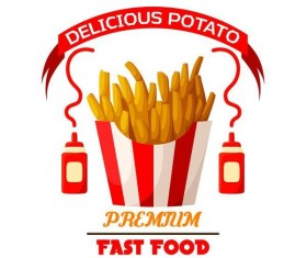 Set of fast food labels design vectors 01