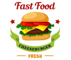 Set of fast food labels design vectors 03
