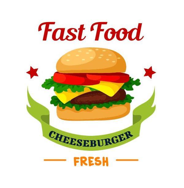 Set of fast food labels design vectors 03