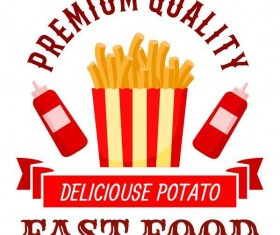 Set of fast food labels design vectors 04