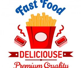 Set of fast food labels design vectors 05