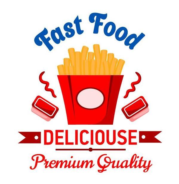 Set of fast food labels design vectors 05