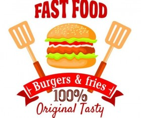 Set of fast food labels design vectors 06