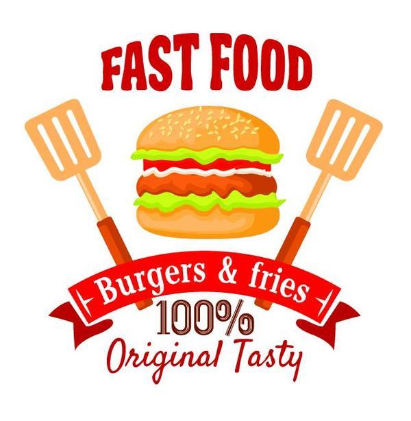 Set of fast food labels design vectors 06