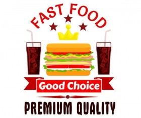 Set of fast food labels design vectors 10