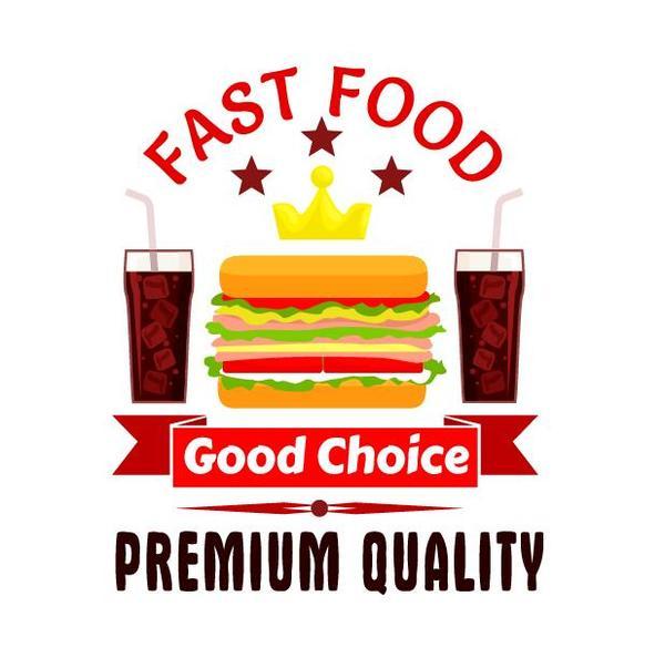 Set of fast food labels design vectors 10