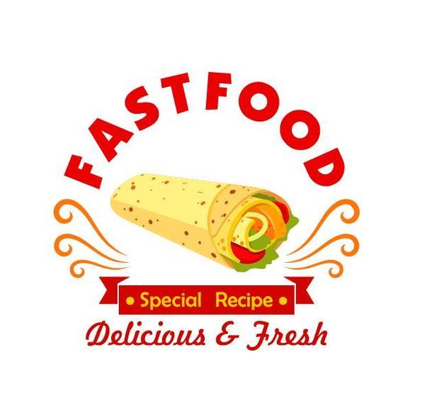 Set of fast food labels design vectors 12