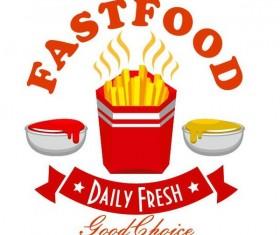 Set of fast food labels design vectors 13
