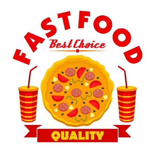 Set of fast food labels design vectors 14