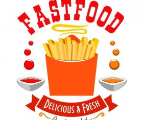 Set of fast food labels design vectors 16