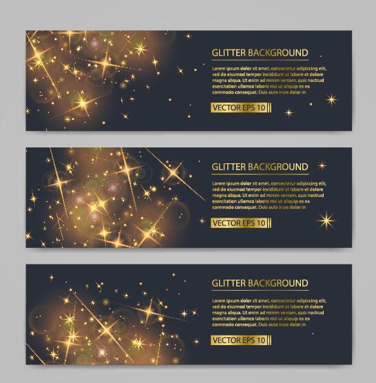 Shiny golden stars light vector