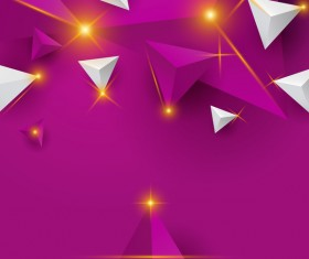 Shiny stars light with triangle abstract background vector 03