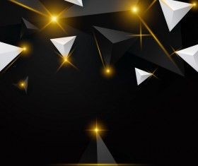 Shiny stars light with triangle abstract background vector 05