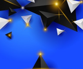 Shiny stars light with triangle abstract background vector 11