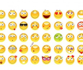 Shiny yellow expression icons set