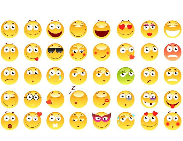 Shiny yellow expression icons set