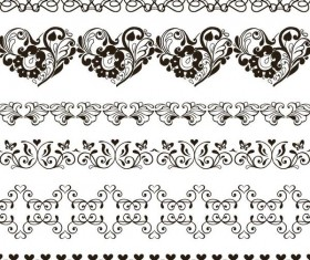Simple floral ornaments borders vector 03