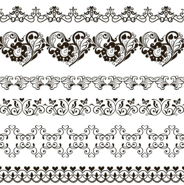 Simple floral ornaments borders vector 03