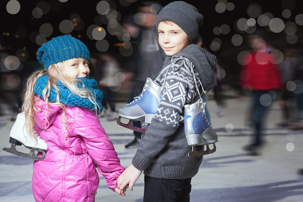 Skating children Stock Photo