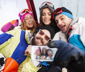 Skier selfie Stock Photo
