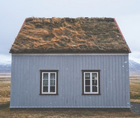 Small cottage in empty highland Stock Photo