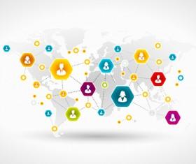 Social concept business template design vector 07