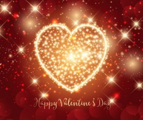 Sparkle heart valentines day background vector