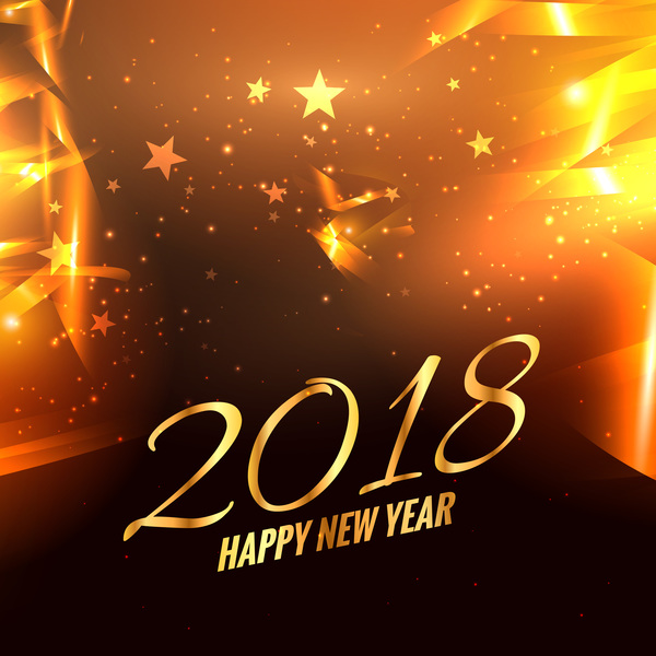 Stars with 2018 new year background modern design vector