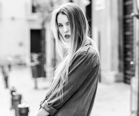 Street girl black and white photo Stock Photo