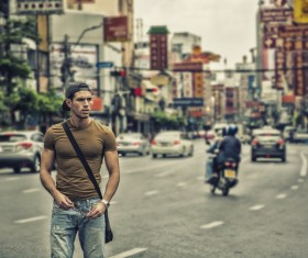 Strong man in the street Stock Photo