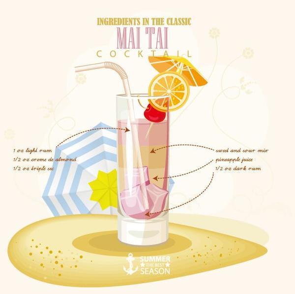 Summer season cocktails poster design vectors 01