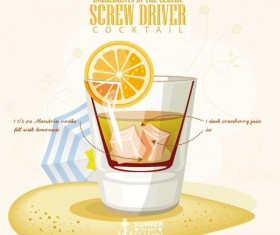 Summer season cocktails poster design vectors 03