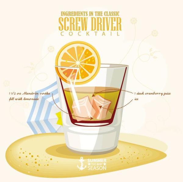 Summer season cocktails poster design vectors 03