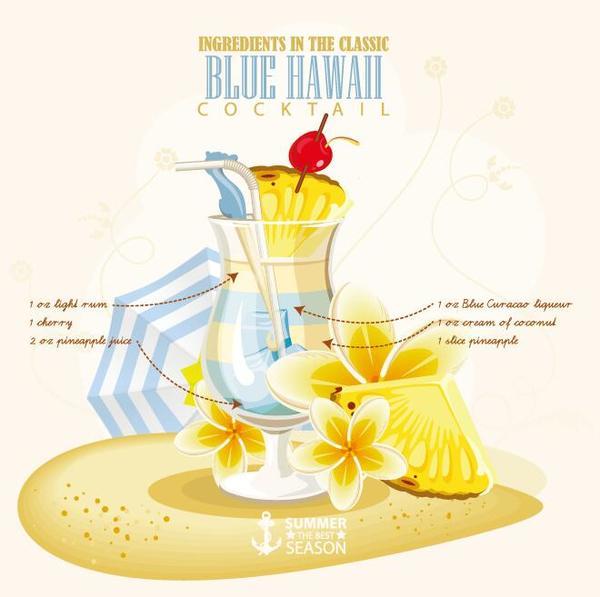 Summer season cocktails poster design vectors 04
