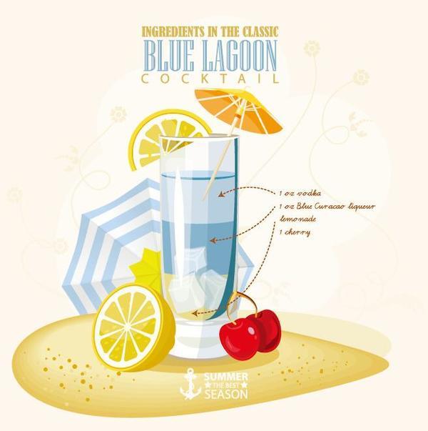 Summer season cocktails poster design vectors 05