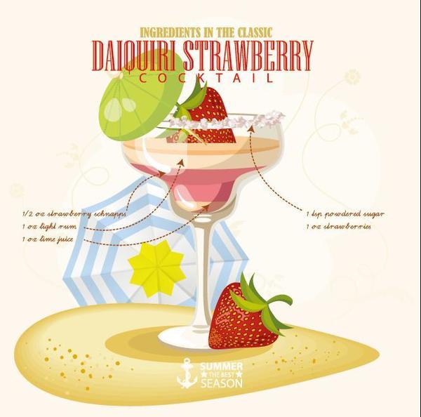 Summer season cocktails poster design vectors 07