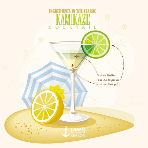 Summer season cocktails poster design vectors 08